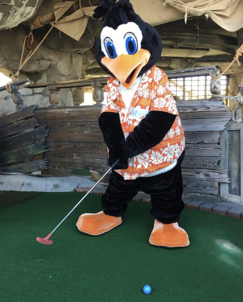 Perky the Penguin at Castaway Cove Mini Golf